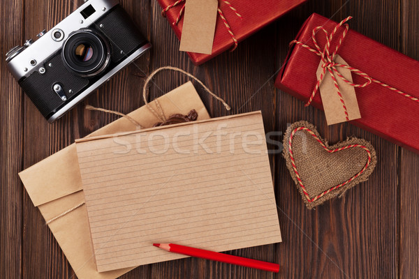 Valentines day toy heart, camera, gifts and notepad Stock photo © karandaev