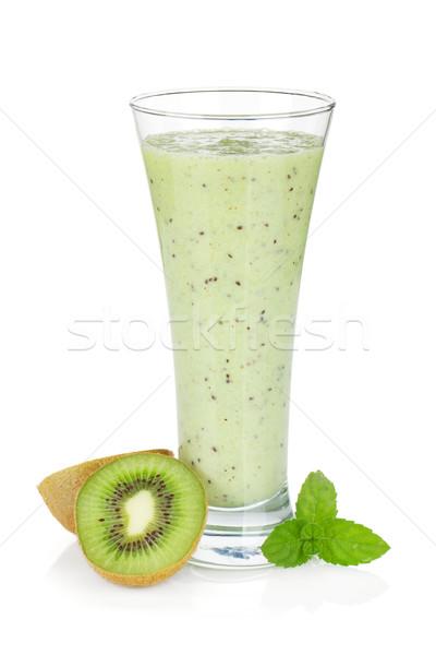 Kiwi tej smoothie menta izolált fehér Stock fotó © karandaev
