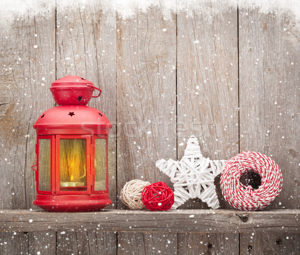 Natal vela lanterna decoração parede Foto stock © karandaev