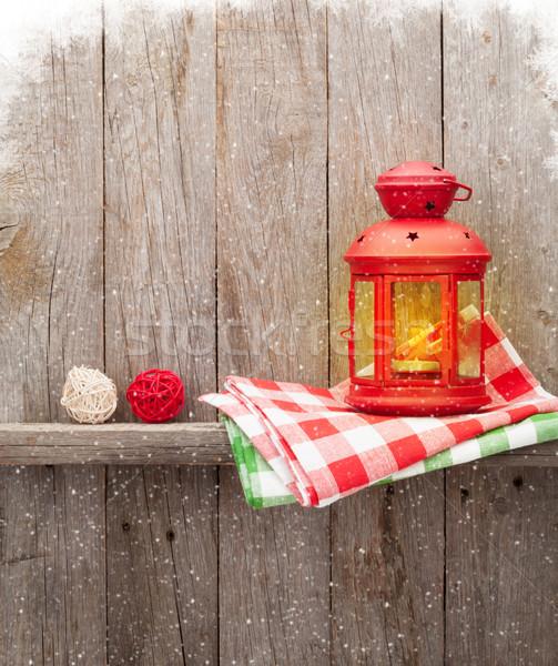 Natale candela lanterna legno muro Foto d'archivio © karandaev