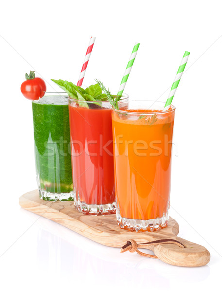 Fresh vegetable smoothie. Tomato, cucumber, carrot Stock photo © karandaev