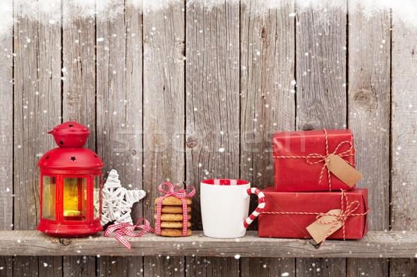 Noël bougie lanterne cadeaux coffrets cadeaux Photo stock © karandaev