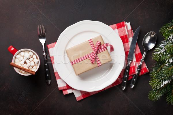 Stock photo: Christmas gift box on plate