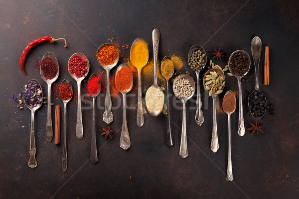 Stock photo: Various spices spoons