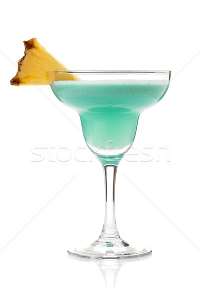 Blue tropical cocktail in margarita glass Stock photo © karandaev