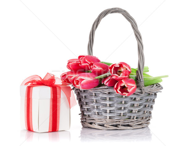 Red tulip flowers bouquet and gift box Stock photo © karandaev