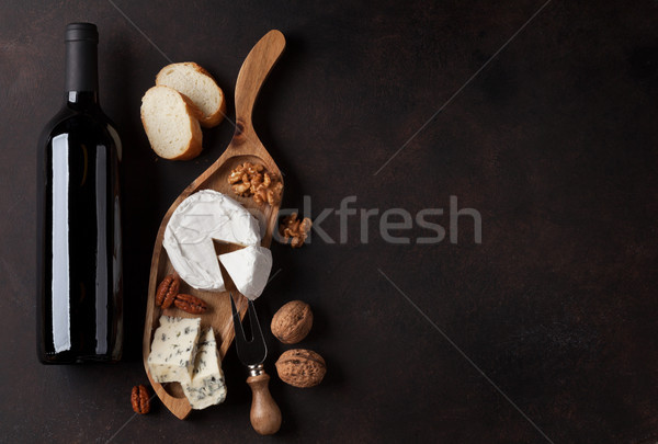 Wine, nuts and cheese Stock photo © karandaev