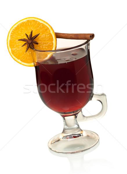 Caldo vino fetta d'arancia anice cannella isolato Foto d'archivio © karandaev