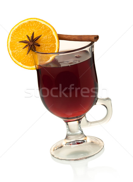 Caliente vino rodaja de naranja anís canela aislado Foto stock © karandaev