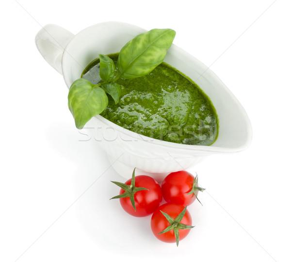 Pesto salsa pomodorini isolato bianco Foto d'archivio © karandaev