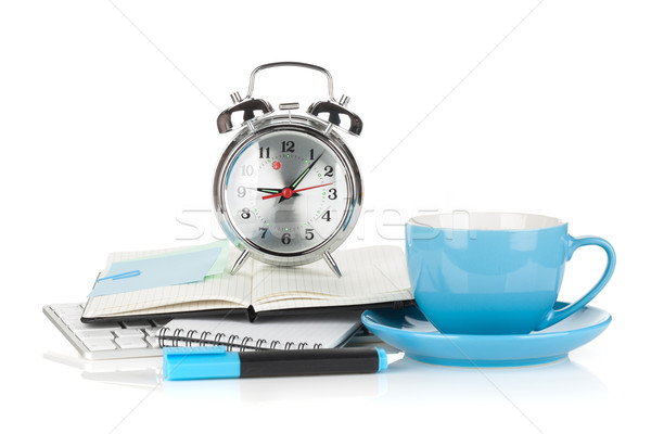 Blue coffee cup, alarm clock and office supplies Stock photo © karandaev