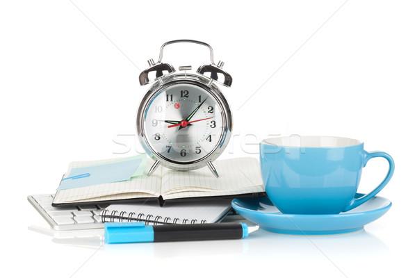 Niebieski filiżankę kawy budzik odizolowany biały Zdjęcia stock © karandaev