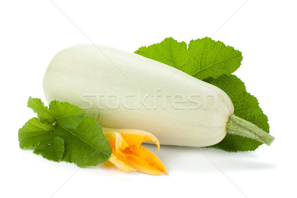 Fresh zucchini fruit with green leaves and flower Stock photo © karandaev