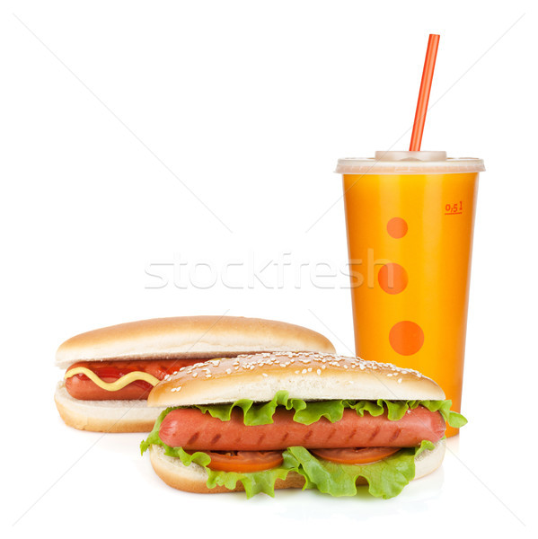 Fast food drink and two hot dogs Stock photo © karandaev