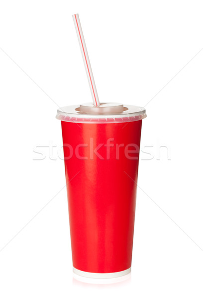Red disposable cup with drinking straw Stock photo © karandaev