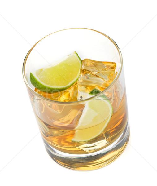 Whiskey koktél citrus izolált fehér étel Stock fotó © karandaev