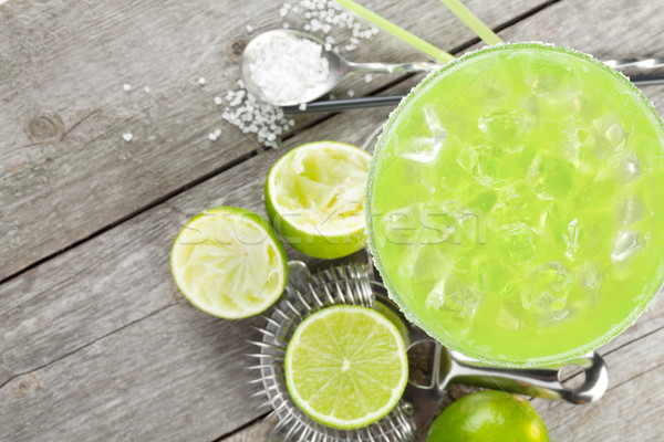 Stock photo: Classic margarita cocktail with salty rim