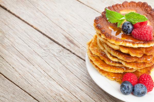 Pannenkoeken framboos mint honing siroop Stockfoto © karandaev