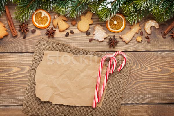 Natale neve spezie pan di zenzero legno Foto d'archivio © karandaev