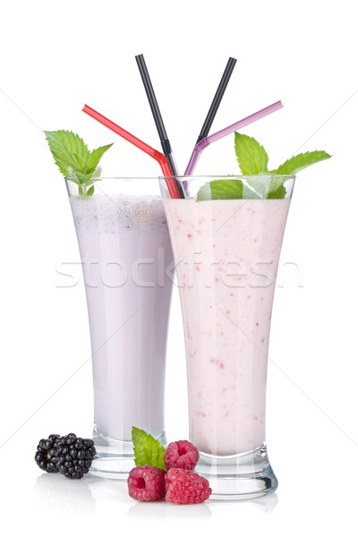 Blackberry and raspberry milk smoothie with mint Stock photo © karandaev