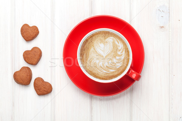 Valentines day heart shaped cookies and red coffee cup Stock photo © karandaev