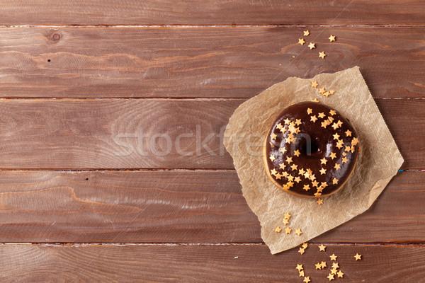 Foto stock: Buñuelo · estrellas · decoración · mesa · de · madera · superior · vista