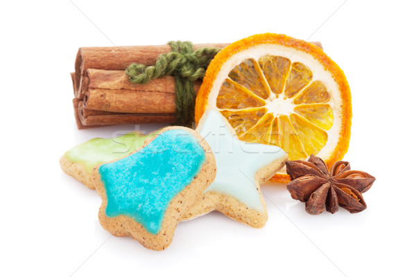 Christmas gingerbread cookies and spices Stock photo © karandaev