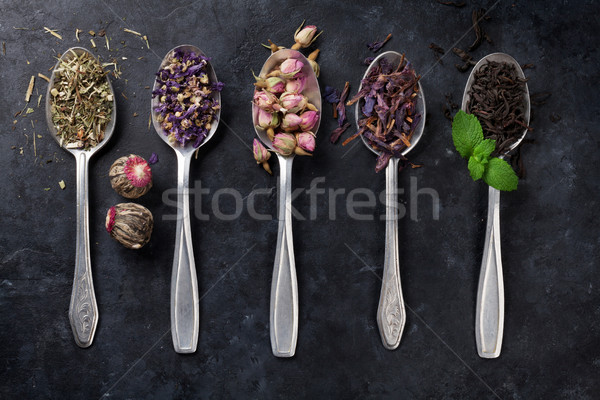 Secar chá colheres pedra tabela Foto stock © karandaev