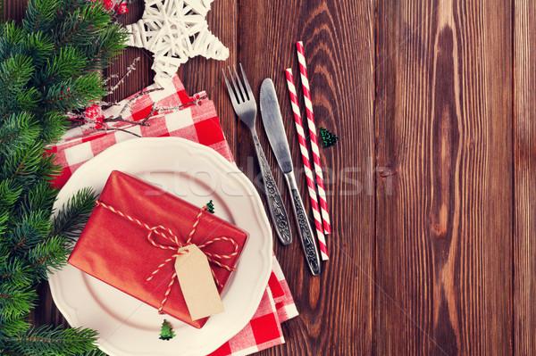 Stok fotoğraf: Noel · tablo · hediye · kutusu · ahşap · masa · üst
