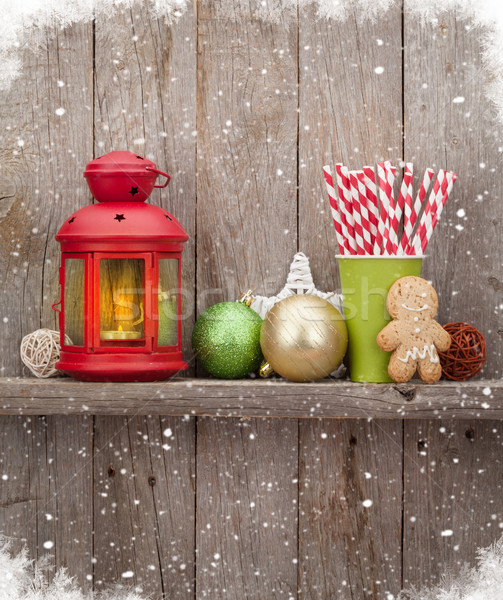 Karácsony gyertya lámpás dekoráció fából készült fal Stock fotó © karandaev