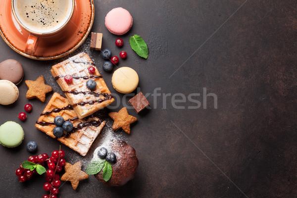 Koffie snoep top exemplaar ruimte voedsel Stockfoto © karandaev