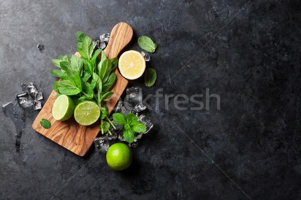 Mint Kalk Eis Stein Tabelle top Stock foto © karandaev
