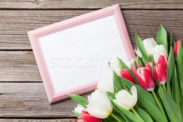 Fresco tulipa flores buquê photo frame cópia espaço Foto stock © karandaev
