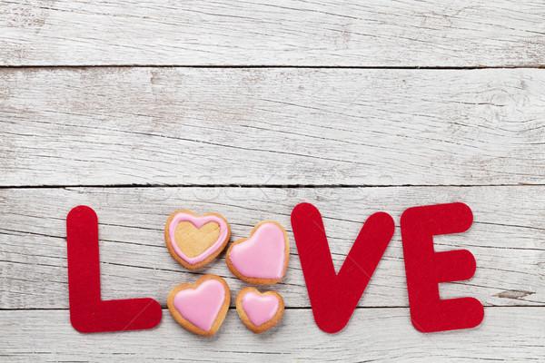 Foto stock: Día · de · san · valentín · tarjeta · de · felicitación · amor · palabra · cookies