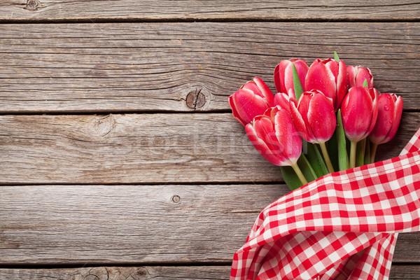 Stock fotó: Piros · tulipán · virágok · virágcsokor · fából · készült · valentin · nap