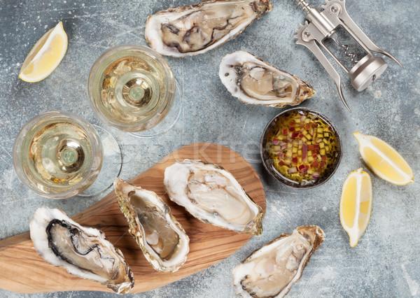 свежие белое вино каменные таблице Top Сток-фото © karandaev