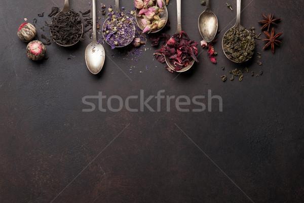 çay kaşık siyah yeşil bitkisel çaylar Stok fotoğraf © karandaev