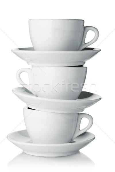 Las tazas de café blanco aislado cocina Servicio contenedor Foto stock © karandaev