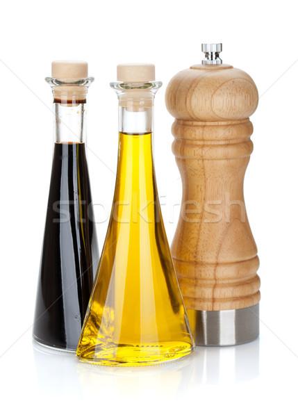 Olive oil and vinegar bottles with pepper shaker Stock photo © karandaev