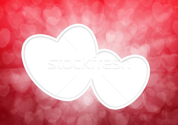 Valentin nap piros szívek bokeh textúra esküvő Stock fotó © karandaev