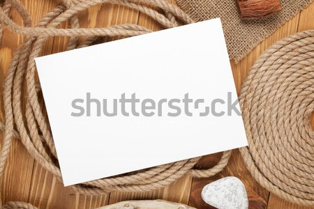 Blank photo frame with ship rope Stock photo © karandaev