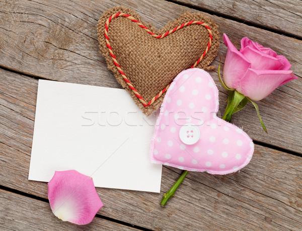 Valentines day blank greeting card or photo frame with handmaded Stock photo © karandaev