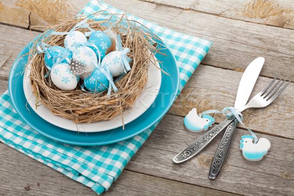 пасхальных яиц гнезда пластина столовое серебро продовольствие Сток-фото © karandaev