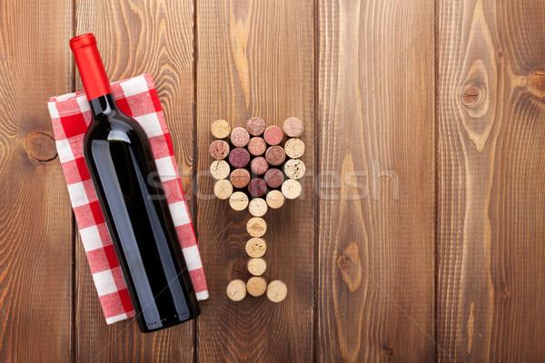 Wino czerwone butelki szkła widok z góry rustykalny Zdjęcia stock © karandaev