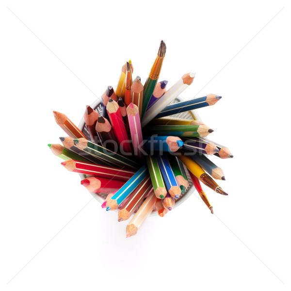 Stock fotó: Színes · ceruzák · izolált · fehér · felső · kilátás