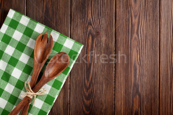 Kitchen cooking utensils over wooden table Stock photo © karandaev