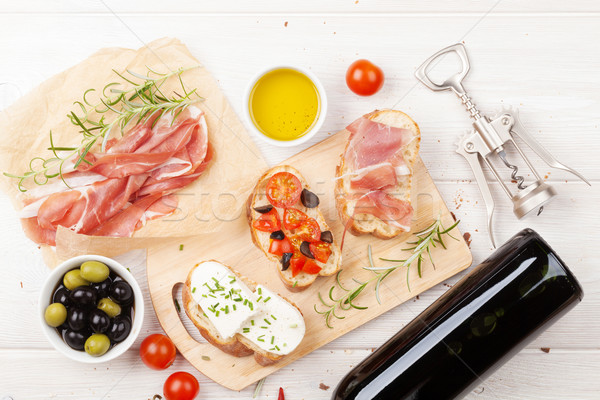 Bruschetta peynir domates prosciutto gıda Stok fotoğraf © karandaev
