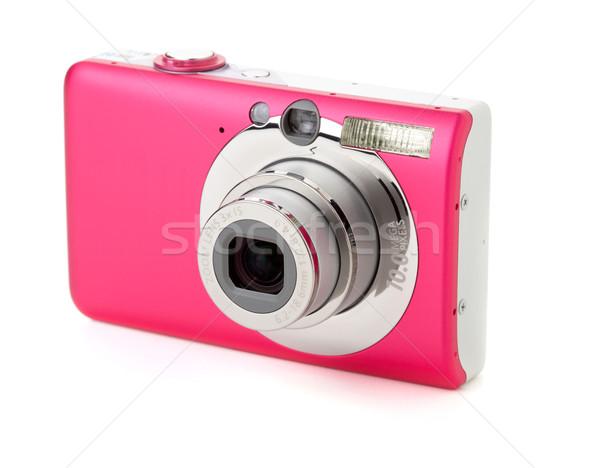 Digitális fényképezőgép zoom izolált fehér nő lány Stock fotó © karandaev