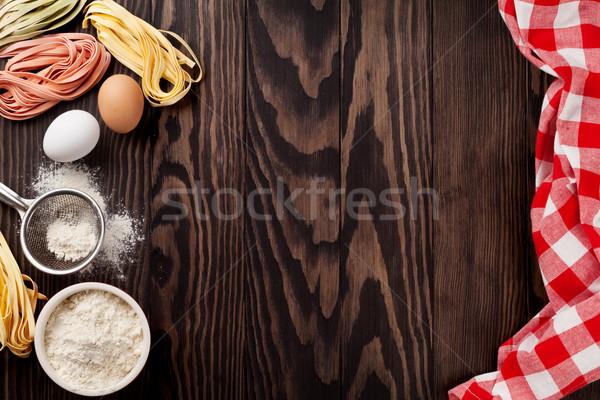 Mutfak masası malzemeler üst görmek bo Stok fotoğraf © karandaev