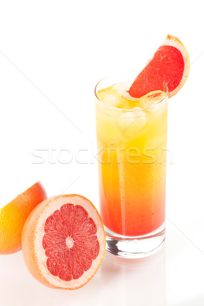 Tequila sunrise alcohol cocktail with ice and maraschino isolated ...